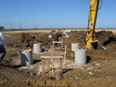 South Row of Bridge Bent Foundations in Tank Farm